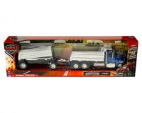 1:32 scale Blue and chrome Freightliner 114SD twin dump truck