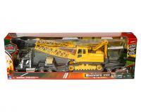 1:32 scale black Kenworth W900 with yellow crane
