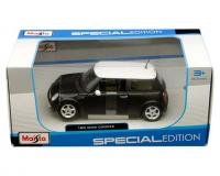 Maisto 1:24 scale matte black Mini Cooper with white top in window box