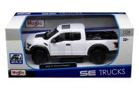 1:24 scale white 2017 ford raptor in window box