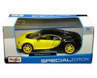 Maisto 1 24 scale black and yellow Bugatti Chiron in window box