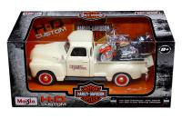 Maisto 1 24 scale cream 1950 Chevy Pickup and Harley Davidson FLSTC Springer