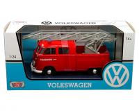 1:24 scale Red Volkswagen Type 2 T1 Fire Truck with Aerial Ladder in window box