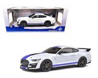 1:18 scale White 2020 Shelby GT500 with blue stripes in window box