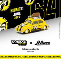 1:64 Yellow Mooneyes Volkswagen Beetle with Roof Rack and Luggage
