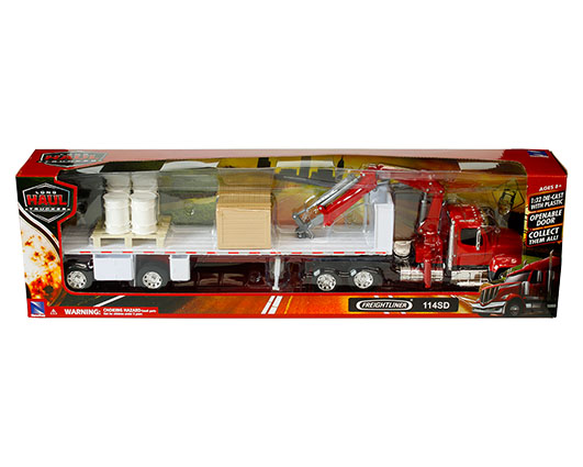1:32 scale red Freightliner 114SD crane truck with flatbed and accessories
