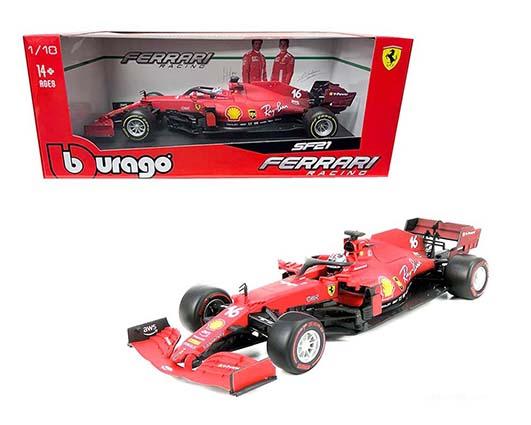 1:18 scale red Ferrari SF21 Charles Leclerc #16 in window box