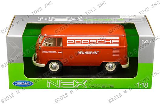 Welly 1:18 1963 Volkswagen T1 Bus PORSCHE Diecast Car 18053W-TDRD