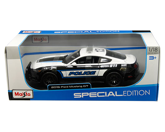 1:18 scale 2015 Ford Mustang GT Police in window box