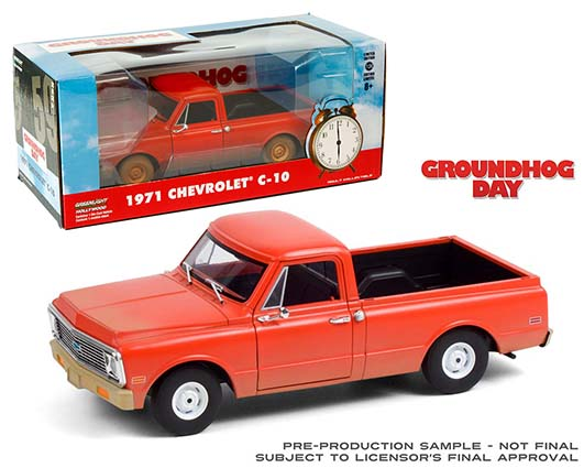 Greenlight 1 24 scale Groundhog Day red 1971 Chevy C 10 in window box
