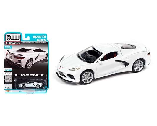 1:64 scale White Chevrolet Corvette C8 in blister pack
