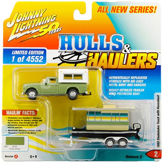 JOHNNY LIGHTNING HULLS /& HAULERS 1960 STUDEBAKER TRUCK WITH HOUSEBOAT YELLOW