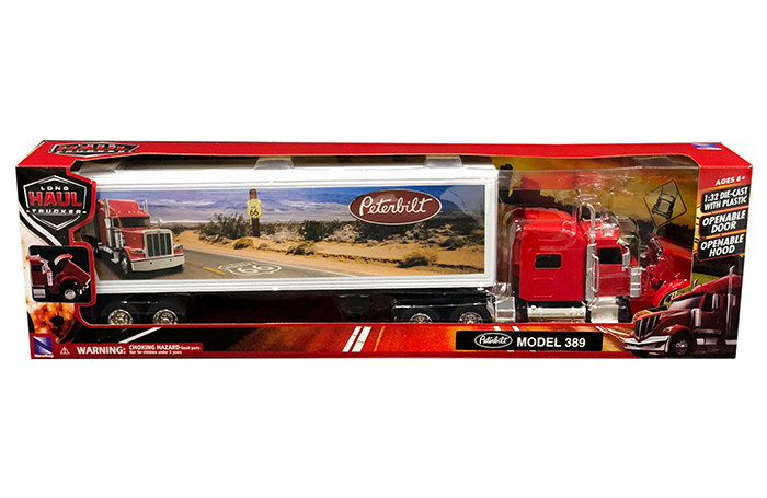 NEWRAY 1:32 DIECAST with Plastic Peterbilt Model 379 Truck RED SS-10573A New ray